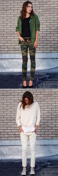 TEXTILE ELIZABETH AND JAMES FALL 2012 GREEN OLIVE JACKET CAMO GOLD ZIPPER PANTS SKINNY OFF WHITE CREAM LOOK SWEATER LAYERED SKINNY ROLLED UP JEANS BEAT UP CONVER ALL STAR SNEAKERS MODEL BAMBI BLYTH NORTHWOOD-