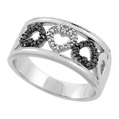 Sterling Silver Black  White Diamond Ring w Three Hears 006 cttw 38 inch 92 mm wide size 95 >>> Details can be found by clicking on the image.