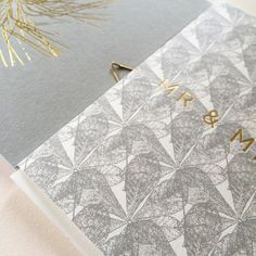 'Mr & Mrs' from our 'Lace' range and gold foil 'Seed' notebook in grey #lonetreehq #weddingstationery #wedding #pattern #stationery #greetingcards #papergoods #goldfoil #stationeryfinds #stationeryaddict #madeinengland