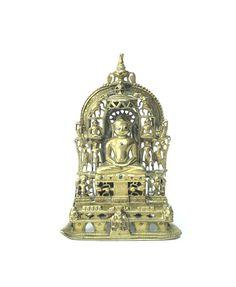 Antique C Silver Inlaid Copper Alloy Jain Buddha Figure Statue Shrine Buddha Figures, Antique Rare, Statue, Buddhism, Decorative Bells, Copper, Clock, Bronze, Vintage