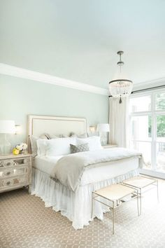 SHERWIN WILLIAMS MOUNTAIN AIR - Air Bed - Ideas of Air Bed #AirBed - seafoam green bedroom mint green ivory accents white trim tan carpet sherwin williams mountain air