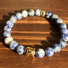 Buddha Head Bracelet Blue Sodalite Mala Bracelet by BriteSideNJ Ribbon  Bracelets a655fcc77
