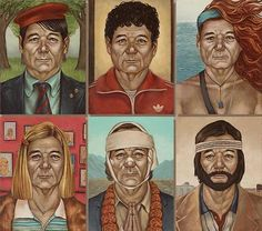 Bill Murray as different Wes Anderson film characters