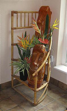 Show off your Rattan! -- Tiki Central>> my mugs need that shelf! Tiki Lounge, Jungle Room, Polynesian Culture, Tiki Room, Hula Girl, Vintage Hawaiian, Bohemian Decor, Bold Colors, Rattan