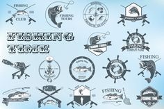 Set of vintage fishing labels by Tomass2015 on Creative Market