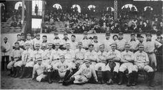 An article about the 1903 World Series, baseball's first, when the Boston Americans (later the Red Sox) defeated the Pittsburgh Pirates. Baseball First, Baseball Park, Red Sox Baseball, Baseball Uniforms, Boston Baseball, Baseball Pitching, Baseball Stuff, Baseball Players, 1903 World Series