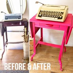 Fun before and after of this #vintage #typewriter table. Supplies? Spray primer spray paint nap time and a big tarp. #DIY #decor #furnitureflip #beforeandafter
