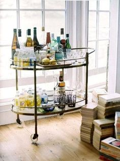 rolling cart + drinks = the living room