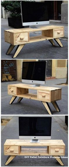 Pallet Furniture Projects I have rounded up some of the best and dreaming reshaping wooden pallets ideas.Wood Pallet Made Tv Stand Diy Pallet Sofa, Wooden Pallet Projects, Wooden Pallet Furniture, Pallet Crafts, Wooden Pallets, Wooden Diy, Pallet Ideas, Pallet Wood, Palette Diy