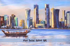 Skyline Painting by Muhammad Rafique  Size: 20 by 30 Inches  For Further Inquiries Contact : 33990948  Muhammad Rafique is a contemporary visual artist working with culture and feminine society. He was trained in painting a genre considered as a unique form in the contemporary art world. Rafique's work is distinct due to its technique and simplicity opening up a range of possibilities both for the artist and its viewers going back to his roots in Pakistan's province of Sindh.