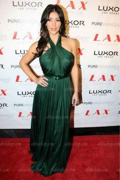 Aliexpress.com: Compre Kim kardashian Halter aberto verde celebridade vestido de confiança inspirado celebridades vestidos de casamento fornecedores em MyPromDresses