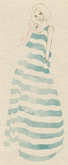 Casual #blue #white #cream #stripe #maxi #dress #art #fashion #illustration #simple #drawing #watercolor