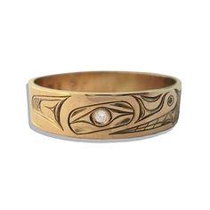 Northwest Native Wedding Ring - Bear design, 14K with a Diamond Eye