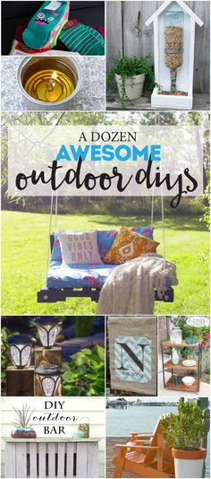 Outdoor-DIY-Projects perfect for spring and summer Backyard Projects, Outdoor Projects, Diy Projects, Backyard Ideas, Patio Ideas, Dyi Decorations, Diy Bar, Outdoor Fun, Outdoor Decor