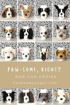 Can you handle the tail wag-worthy cuteness of these realistic dog cup cozies! You have 66 designs to choose from. Such a paw-some crochet gift idea for all the dog lovers in your life. You will never have so much fun crocheting! Dog Mom Gifts, Dog Lover Gifts, Dog Lovers, Parent Gifts, Coffee Cozy Pattern, Crochet Dog Patterns, Crochet Cup Cozy, Dog Coffee, Cup Cozies