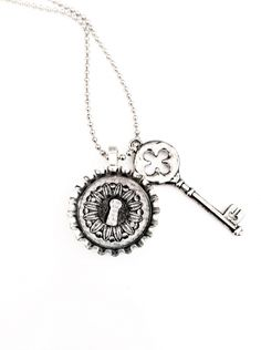 Lock and Key Bottle Cap Necklace