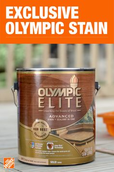 Enhance the look of your wood projects and protect them at the same time with Olympic Elite Stain and Sealant in One, exclusively available at The Home Depot. Shop online or in store today to get your next staining project started. Outdoor Projects, Wood Projects, Home Depot, Exterior Stain, Painted Floors, Painted Wood, Decks And Porches, Paint Stain, Home Repair