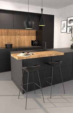 Black Kitchen Decor, Black Kitchen Island, Kitchen Island With Seating, Kitchen Room Design, Modern Kitchen Design, Home Decor Kitchen, Kitchen Interior, Loft Interior, Home Interior Design