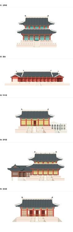 The colours and shapes in these vectors are simple yet effective, as they create interesting textures and patterns on the buildings, as well as giving them depth. As a result they become more realistic and true to the style of these ancient palaces. Icon Design, Design Art, Graphic Design, Korean Design, Korean Traditional, Traditional Design, Chinese Architecture, Korean Art, Arte Popular
