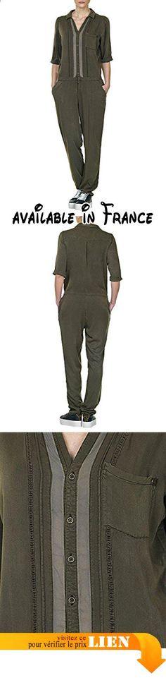 B018TMC45E : Garcia Jeans Women's Woman's Jumpsuit In Khaki Color In Size M Brown. Boutonnière. 3poches. Coupe ajustée
