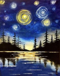 """Starry Lake"" - by Alyson Mccrink; create your own version of this painting at a Paint Nite event Afrique Art, Wine And Canvas, Easy Paintings, Canvas Paintings, Art Plastique, Painting & Drawing, Sketch Drawing, Lake Painting, Sketches"