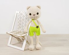 PATTERN: Long-Legged Cat in Shorts Amigurumi cat by KristiTullus