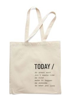 A Way with Verbs Tote. Nothing makes you feel as merry and motivated as this kha… A Way with Verbs Tote. Nothing makes you feel as merry and motivated as this khaki tote! Diy Tote Bag, Tote Backpack, White Tote Bag, Printed Tote Bags, Canvas Tote Bags, Do It Yourself Upcycling, Cotton Tote Bags, Reusable Tote Bags, Sneaker Outfits