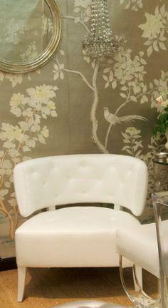 metallic wallpaper + metallic mirror...love, love this wallpaper!! Beautiful!