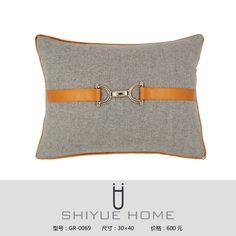 样板房装饰 设计师抱枕 腰枕 靠垫 时尚 简约 金属搭扣-淘宝网