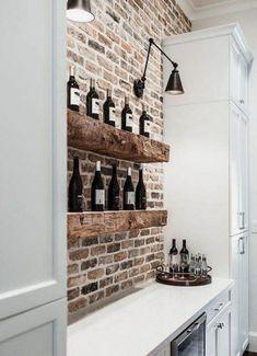 Brick Tiles Kitchen, Brick Tile Wall, Brick Wall Bedroom, Faux Brick Backsplash, Brick Wall Decor, Exposed Brick Kitchen, Fake Brick Walls, Kitchens With Brick Walls, Kitchen Feature Wall