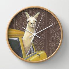 Taxi Llama Wall Clock