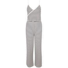 TopShop Stripe Wrap Jumpsuit featuring polyvore women's fashion clothing jumpsuits topshop white striped jumpsuit jump suit ribbed jumpsuit white jump suit topshop jumpsuit