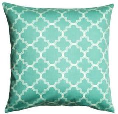 Turquoise geometric pattern is so beachy. Turquoise pillow, Printed Cushion Cover #ad
