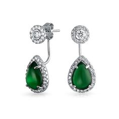 6c1fc7a7b Bling Jewelry Synthetic Green Onyx Teardrop Ear Jacket Earrings Rhodium  Plated ** Be sure to