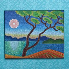Colorful Print Laminated on woodblock Beautiful por ElspethMcLean
