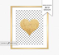 Gold Glitter Kiss Heart Wall Art - Printed or Printable, Black White First Birthday Bridal Shower Sign Baby Girl Nursery Polka Dot Kate #p02