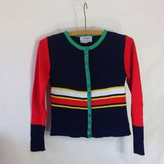70s Sweater  Vintage Preppy Cardigan Sweater  by sixcatsfunVINTAGE