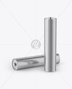 2 AAA Batteries Mockup - Half Side View