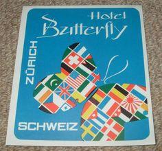HOTEL BUTTERFLY - ZURICH - VINTAGE HOTEL LUGGAGE LABEL Vintage Hotels, Luggage Labels, Vintage Luggage, Zurich, Butterfly, Ebay, Butterflies