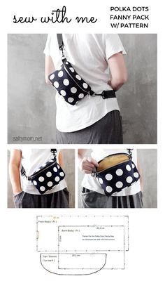Sewing tutorial on how to make a lined fanny pack with pattern ! Small Sewing Projects, Sewing Hacks, Sewing Tutorials, Bag Patterns To Sew, Crochet Blanket Patterns, Sewing Patterns, Dress Patterns, Fanny Pack Pattern, Fabric Bags