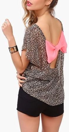 Leopard Blouse with Pink Bow Back <3 L.O.V.E.