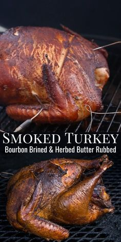 Bourbon Brined Smoked Turkey - Perfectly juicy smoked turkey that is bourbon brined and herb butter rubbed. This is the turkey you - Traeger Recipes, Grilling Recipes, Rib Recipes, Grilling Tips, Smoked Chicken Recipes, Smoked Turkey Brine, Smoked Beer Can Chicken, Wild Turkey Recipes, Smoked Pork