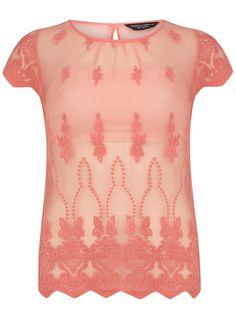 Peach sheer lace tee - Tops - Clothing - Dorothy Perkins