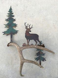 B122) Mule Deer at a Stance, Authentic Antler & Metal Wall Art