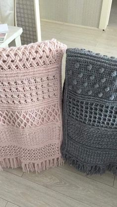 Using variety of stitches to create this mono colored blanket