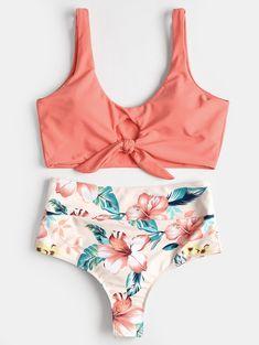 High Rise Knotted Floral Scrunch Bikini Swimwear - WATERMELON PINK S