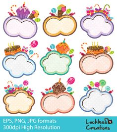 Party Cloud Frames Digital Clip Art (ED) (Instant Download)
