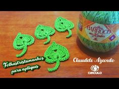 Folha para aplique em três tamanhos (crochê)