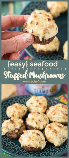 You only need a few simple ingredients to make these scrumptious Seafood Stuffed Mushrooms! They will be the star of any party! Super Bowl Party Food - 75 Super Bowl Recipes Everyone Will Love! Anna Aebli Seafood recipes You only need Seafood Party, Seafood Bake, Seafood Appetizers, Seafood Dinner, Appetizers For Party, Appetizer Recipes, Simple Appetizers, Party Snacks, Healthy Appetizers