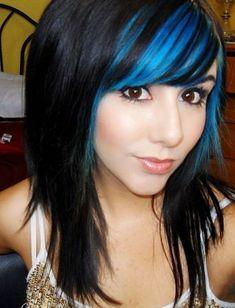 streaked colored bangs